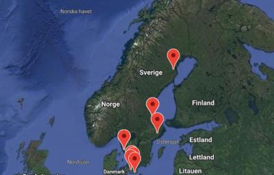 Bild på Sverige med nålar för aktiviteter